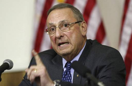 FILE--In this March 8, 2017, file photo, Maine Gov. Paul LePage speaks at a town hall meeting in Yarmouth, Maine. An emerging debate about whether elected officials are violating people's free speech rights by blocking them on social media is spreading across the nation as First Amendment advocates file lawsuits or warn politicians to stop.