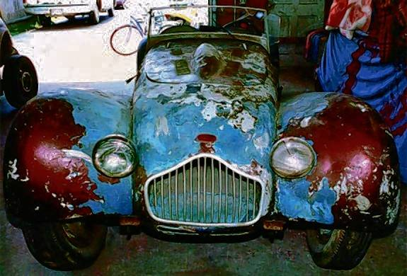 Although complete, the Allard was in rough shape when it was purchased. The upholstery long gone and the main frame rails were rotted through. Restoration would take more than 20 years.