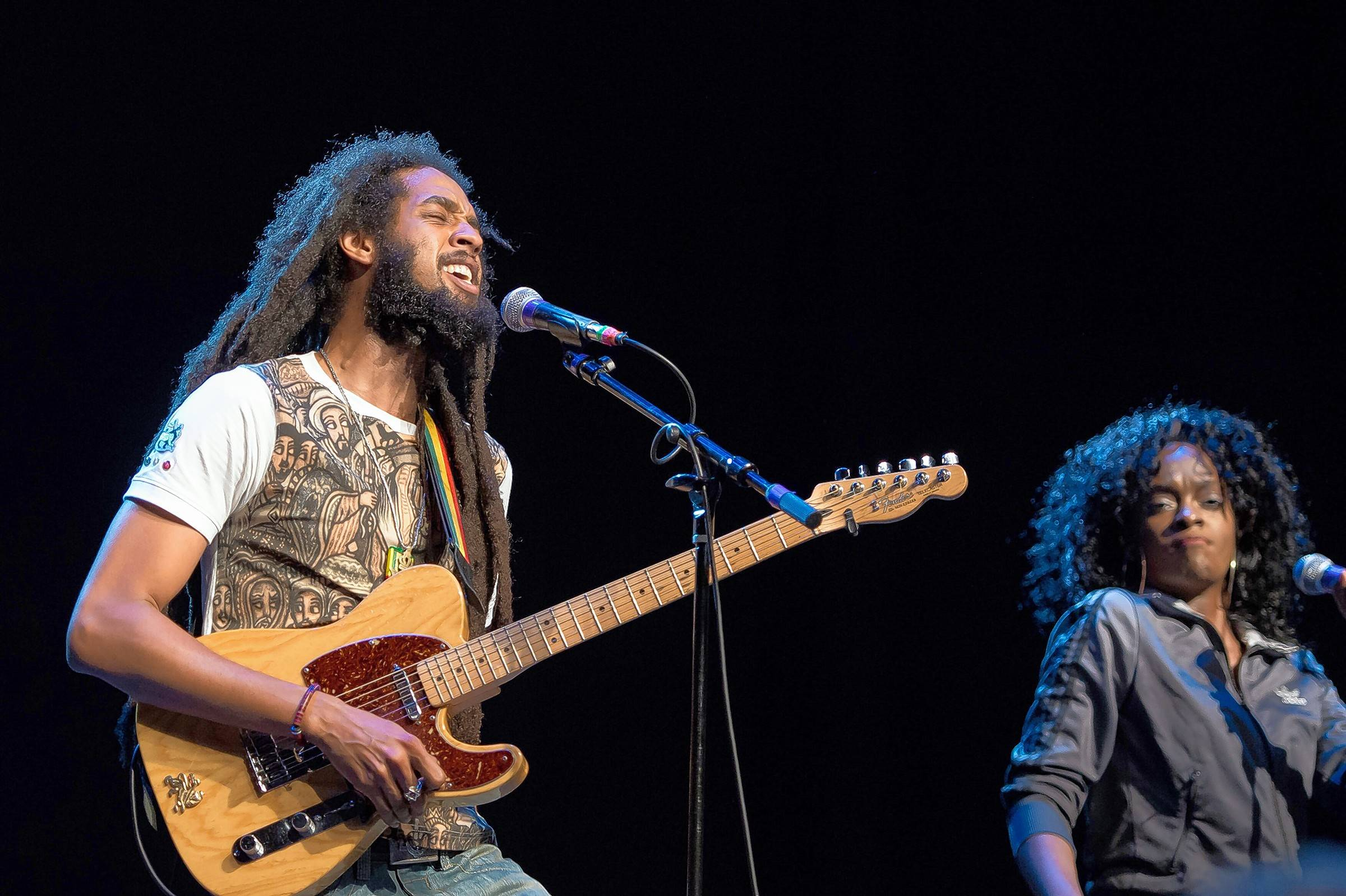 Singers Josh Barrett and Shema McGregor of the Wailers perform at the Arcada Theatre.