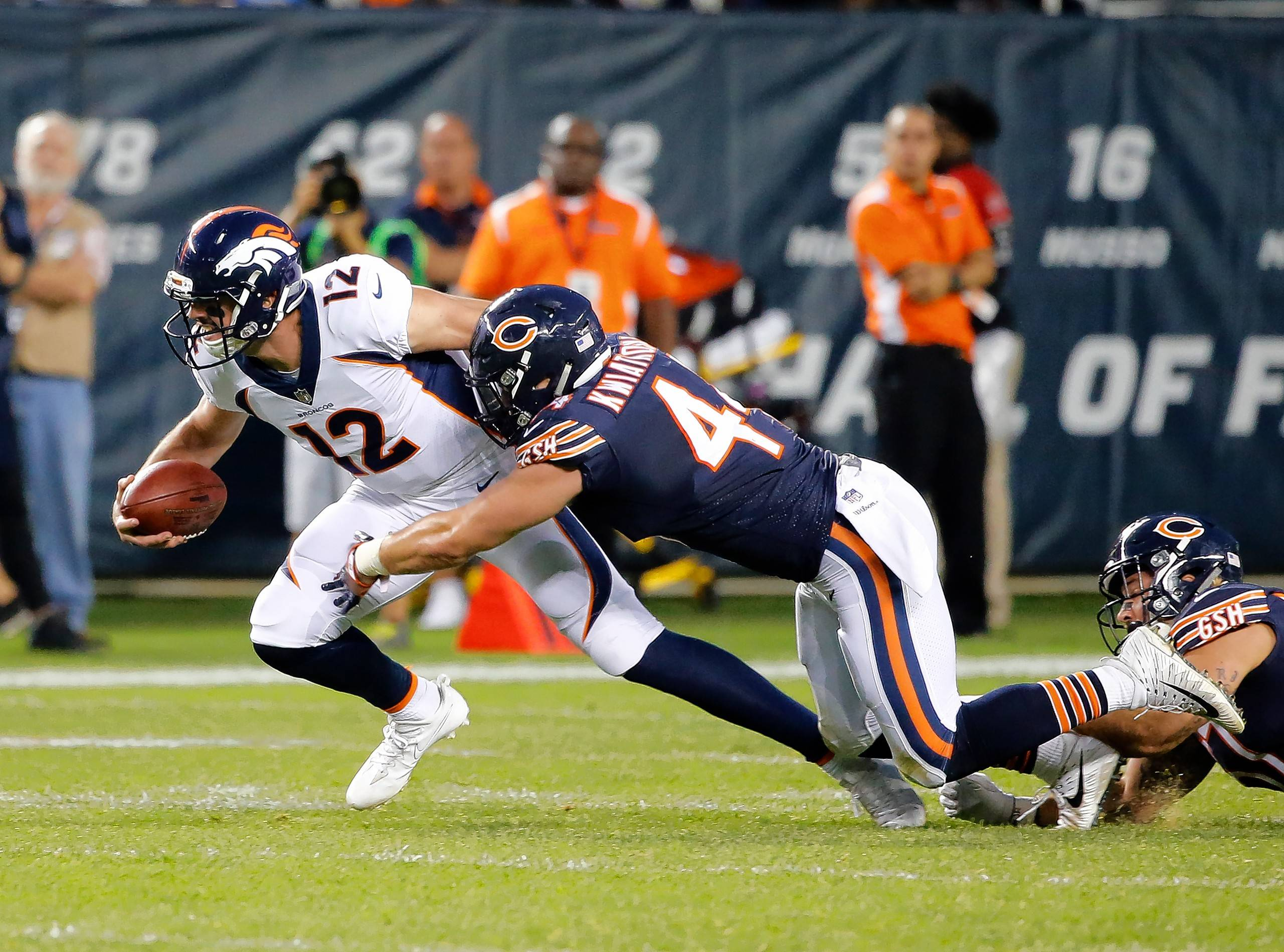 Through three quarters Thursday night, the Bears' defense had permitted just 144 yards of total offense and had not allowed the visiting Denver Broncos any plays longer than 14 yards. But two costly the fourth-quarter failures spoiled an otherwise strong showing. Inside linebacker Nick Kwiatkoski (above), starting in place of Danny Trevathan (knee), led the Bears with 6 tackles, including a team-best 5 solos.