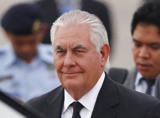 "U.S. Secretary of State Rex Tillerson arrives at a military base in Subang, Malaysia, Tuesday, Aug. 8, 2017. President Donald Trump declared the U.S. nuclear arsenal ""far stronger and more powerful than ever before,"" even as Tillerson was working to calm the North Korea crisis and insisting there wasn't ""any imminent threat."" (AP Photo/Vincent Thian)"