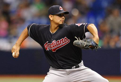 Cleveland Indians starter Carlos Carrasco pitches against the Tampa Bay Rays during the seventh inning of a baseball game Friday, Aug. 11, 2017, in St. Petersburg, Fla.