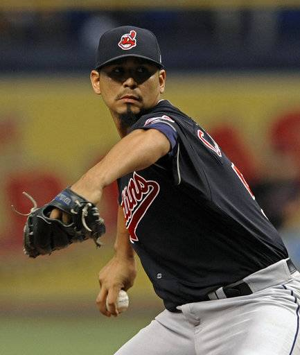 Cleveland Indians starter Carlos Carrasco pitches against the Tampa Bay Rays during the first inning of a baseball game Friday, Aug. 11, 2017, in St. Petersburg, Fla. (AP Photo/Steve Nesius)