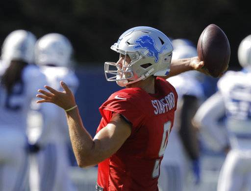 Detroit Lions quarterback Matthew Stafford throws during practice at the NFL team's football training camp Thursday, Aug. 10, 2017, in Indianapolis. (AP Photo/Darron Cummings)