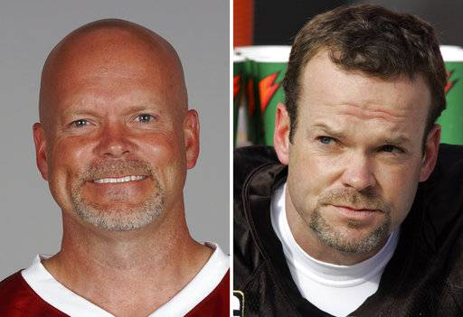 FILE - These are file photos showing kicker Phil Dawson with the Arizona Cardinals in 2017, left, and with the Cleveland Browns in 2007, right. Entering his 19th NFL season, the 42-year-old kicker is just happy to still be a part of things. (AP Photo/File)