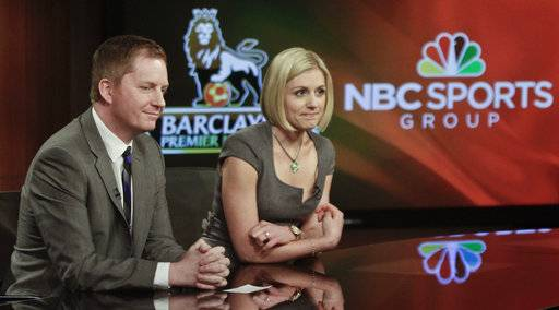 FILE - In this April 16, 2013, file photo, Arlo White, left, and Rebecca Lowe listen during a joint NBC and English Premier League (EPL) press conference in New York. Trying to gauge what it can sell directly to cord cutters, NBC is launching its direct-to-consumer Premier League product with the start of the season this weekend. The company still will air about 250 matches on its television networks, mostly NBCSN, NBC and CNBC. But 130 games are being moved to its stream. (AP Photo/Bebeto Matthews, File)