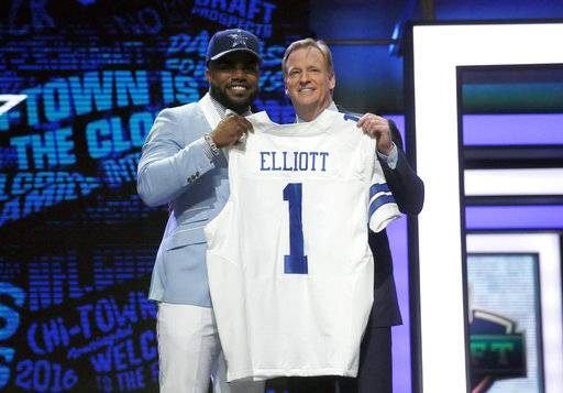 "FILE - In this April 28, 2016, file photo, Ohio State's Ezekiel Elliott poses for photos with NFL commissioner Roger Goodell after being selected by the Dallas Cowboys as the fourth pick in the first round of the 2016 NFL football draft, in Chicago. Elliott has been suspended for six games under the NFL's personal conduct policy following the league's yearlong investigation into the star Dallas Cowboys running back's domestic violence case out of Ohio. The league said Friday, Aug. 11, 2017, there was ""substantial and persuasive evidence� that Elliott had physical confrontations last summer with his ex-girlfriend, Tiffany Thompson.(AP Photo/Charles Rex Arbogast, File)"
