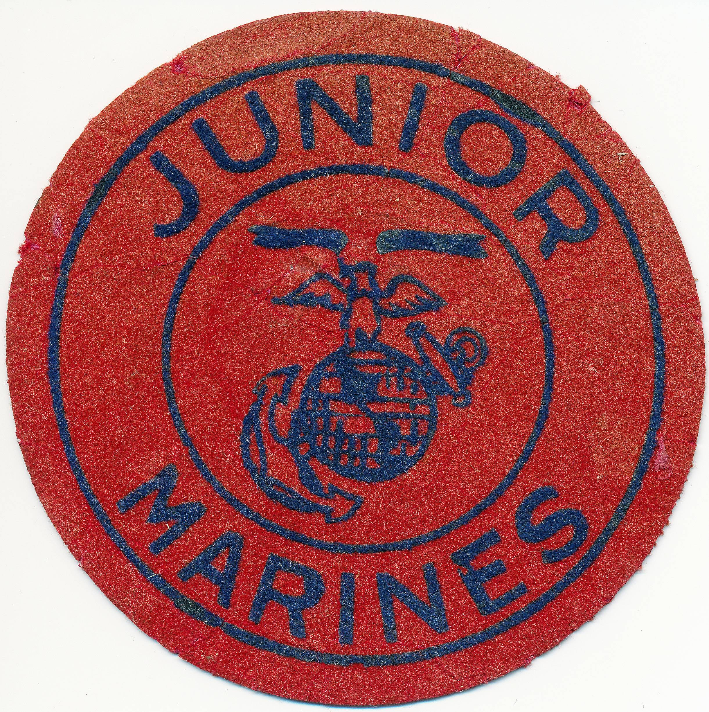"A neighborhood group of boys in Chicago, the Junior Marines participated in parades and rallies during World War II. This patch belongs to retired Air Force Reserve Brig. Gen. Walter ""Gibby"" Vartan, 85, of Chicago."