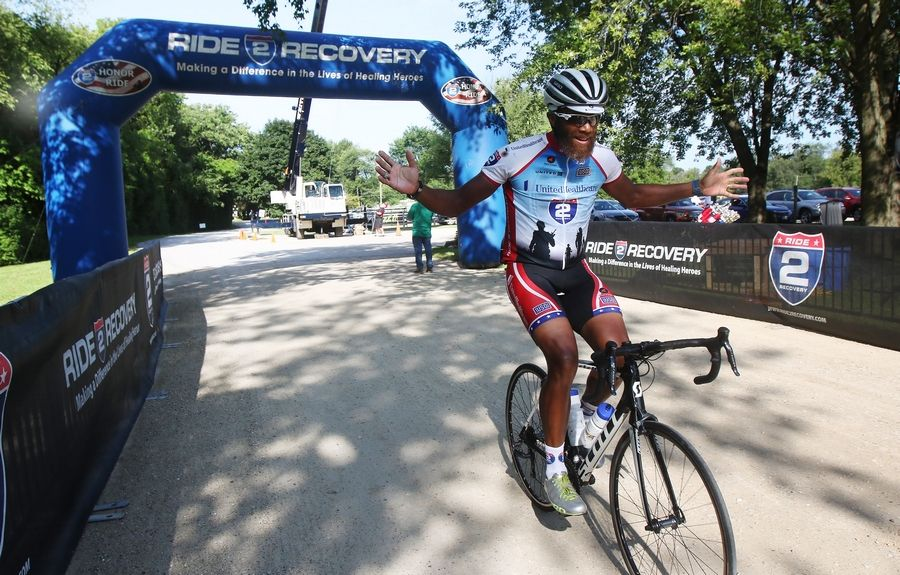 Jermal Trammel of New Orleans is the first one to complete the short course during the 2017 Project Hero Barrington Honor Ride in Barrington Hills on Sunday.