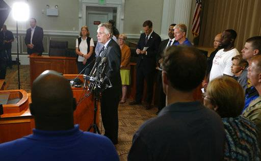 Virginia Gov. Terry McAuliffe addresses a news conference concerning the white nationalist rally and violence in Charlottesville, Va., Saturday, Aug. 12, 2017.