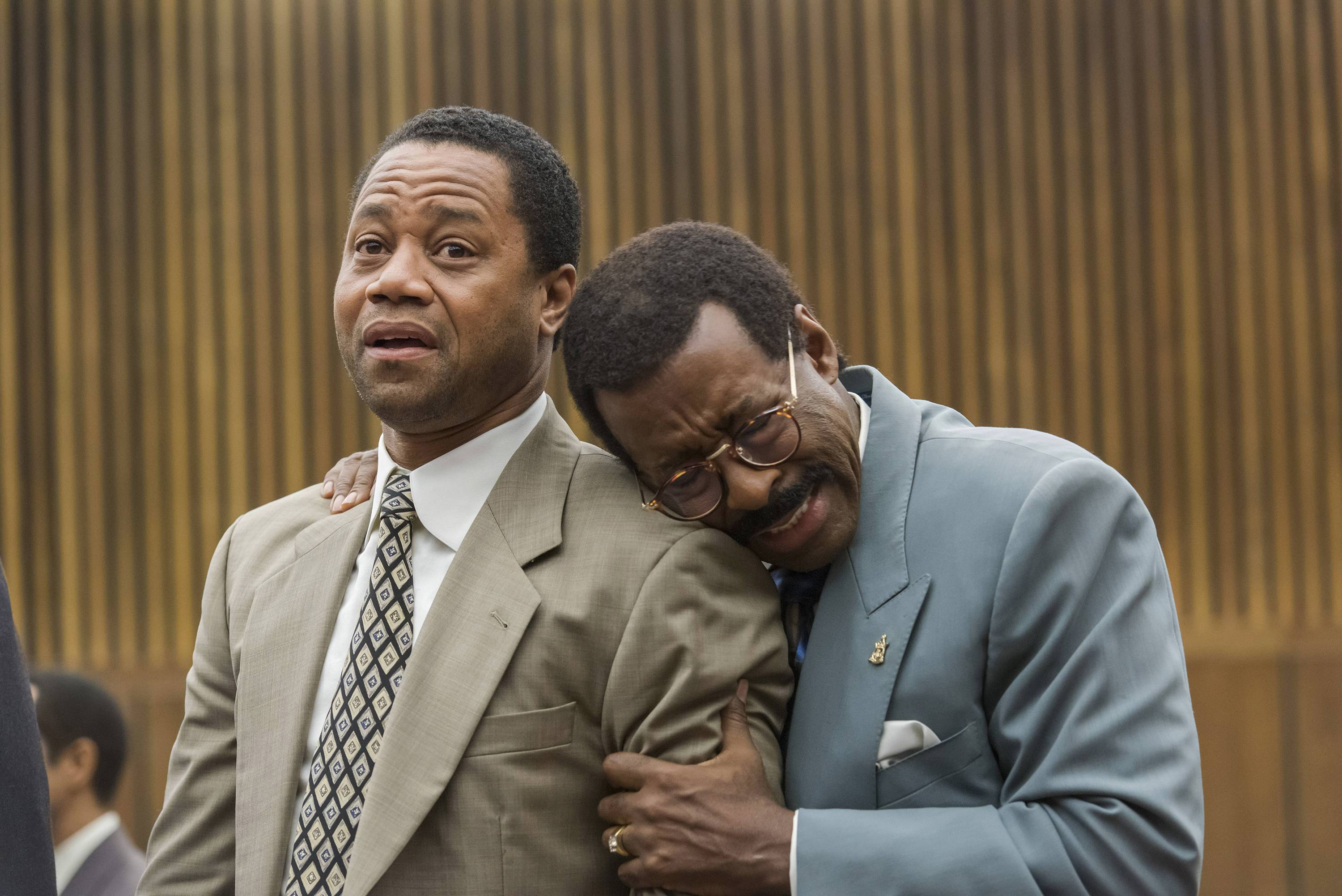 "Cuba Gooding, Jr. as O.J. Simpson and Courtney B. Vance as Johnnie Cochran in the FX miniseries ""The People v. O.J. Simpson."""