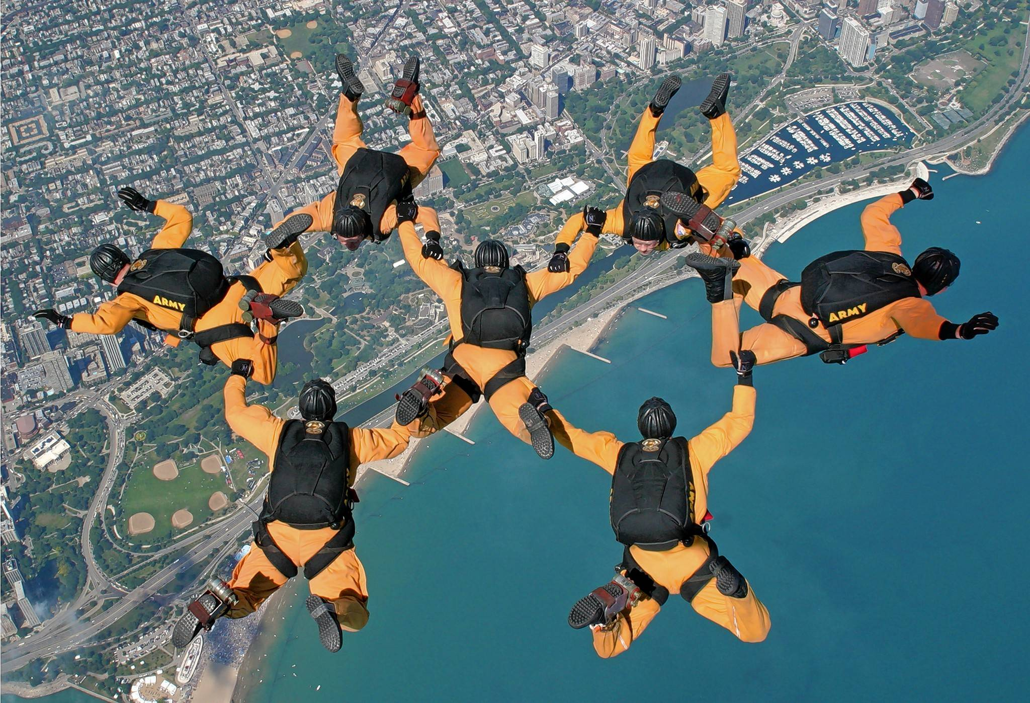 The U.S. Army Parachute Team Golden Knights will head toward the city at speeds reaching 180 miles per hour.