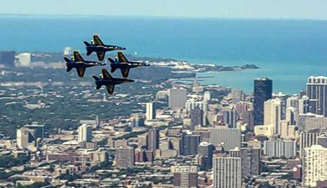 The U.S. Navy Blue Angels soar in F/A-18 Hornets.