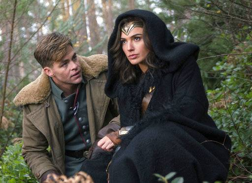 "Chris Pine, left, and Gal Gadot star in ""Wonder Woman."""
