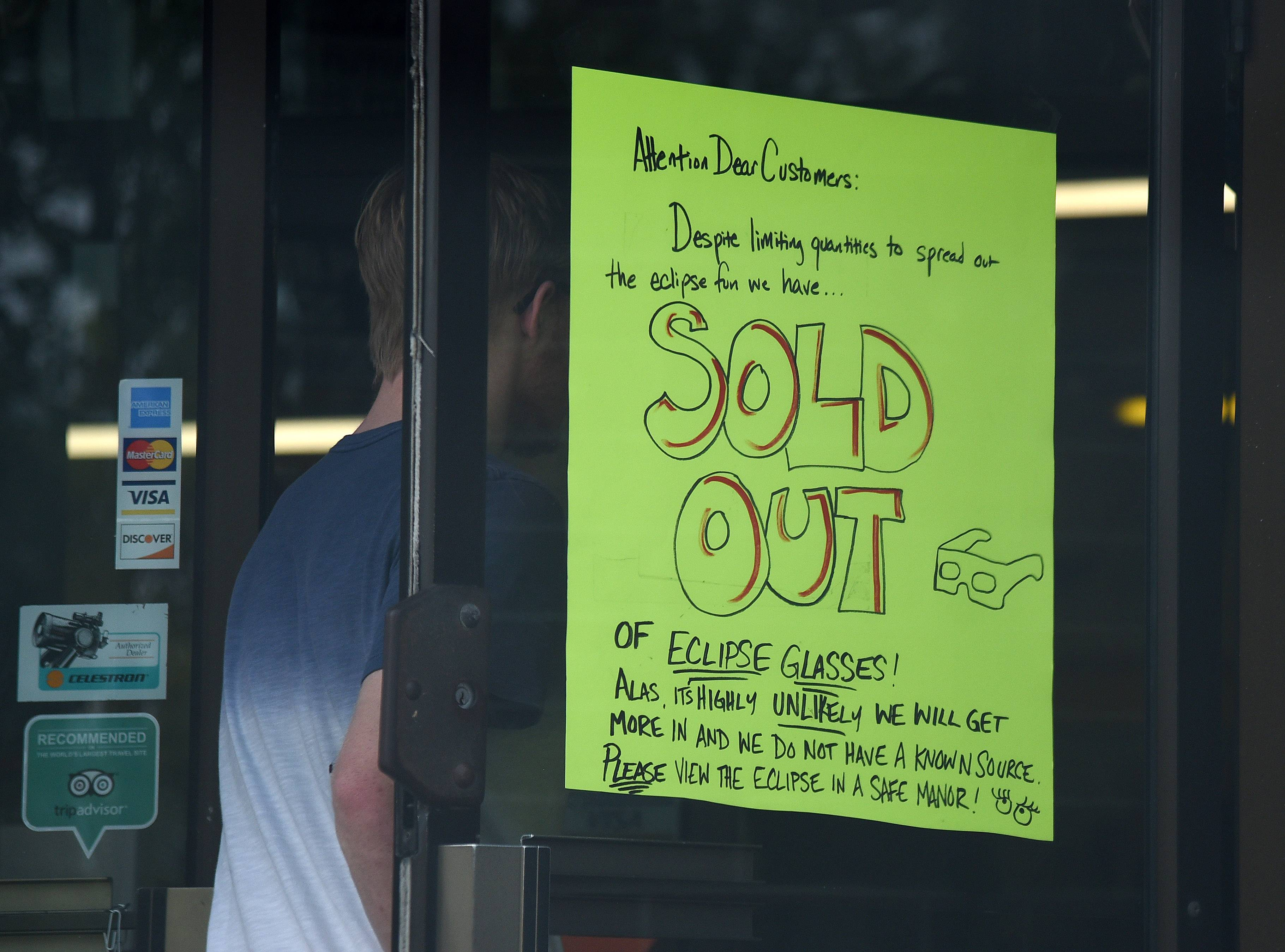 American Science & Surplus in West Chicago is sold out of eclipse glasses, as are many retailers in the area.
