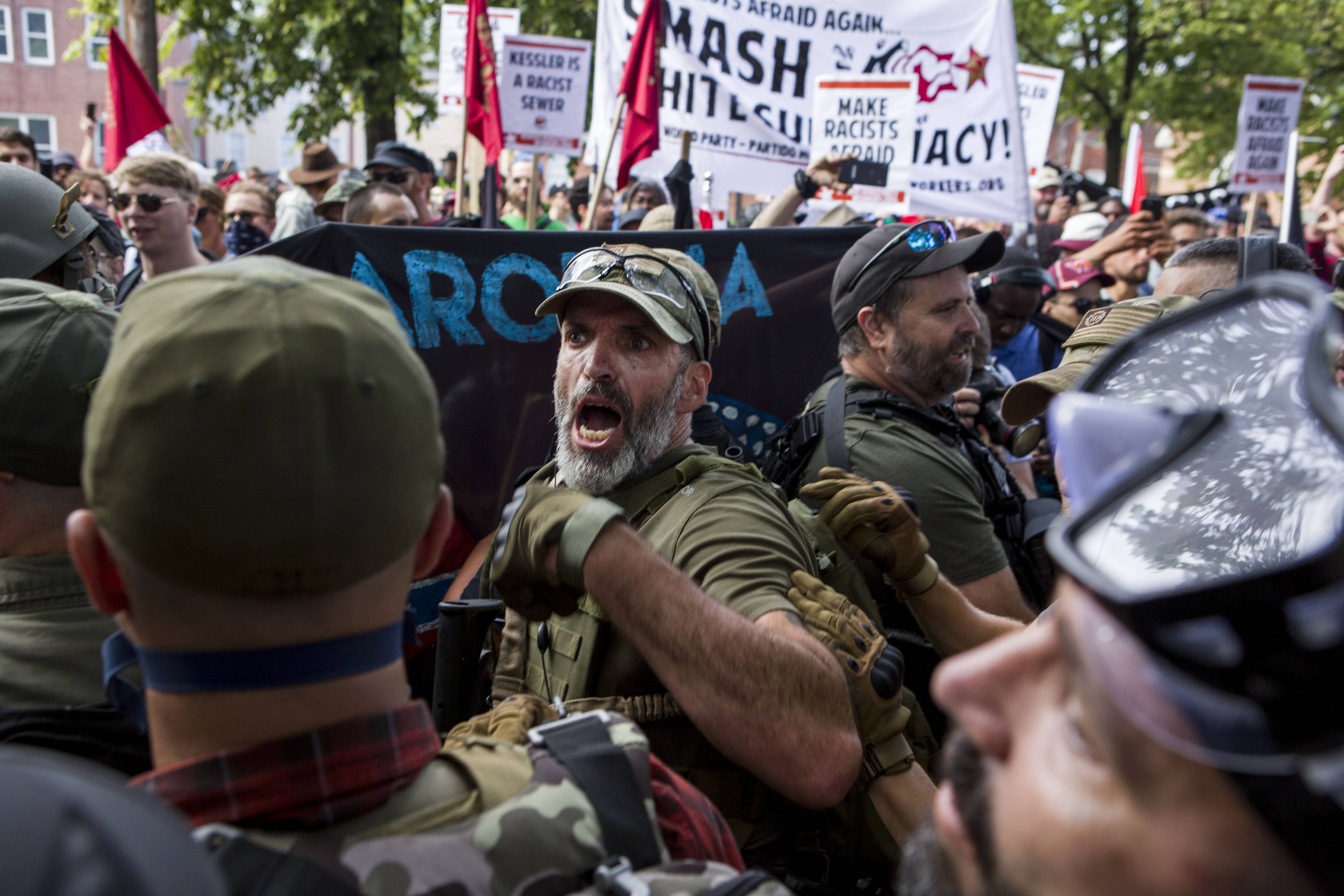 A protester shouts during a Unite the Right rally on Saturday in Charlottesville, Virginia.