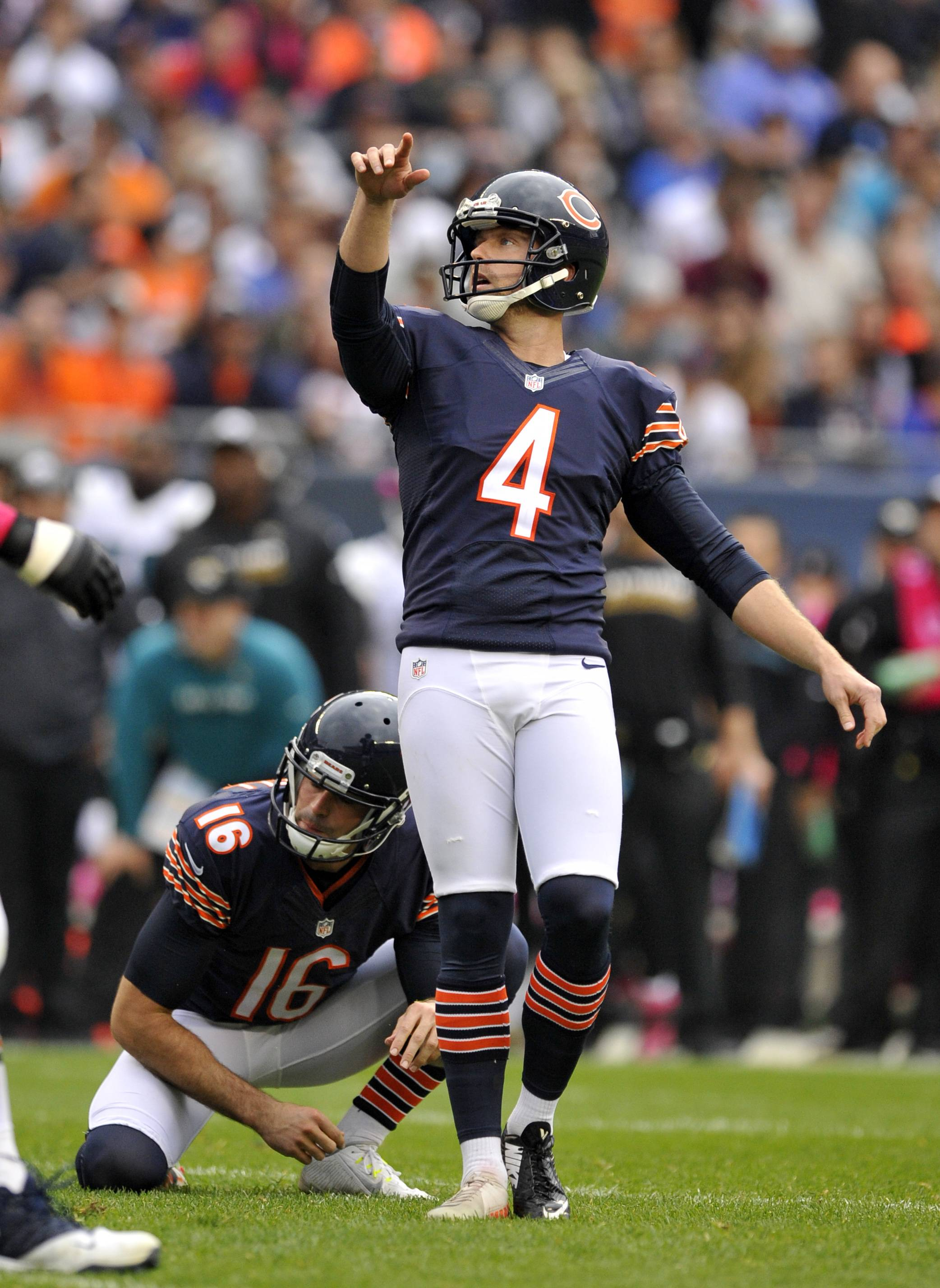 Chicago Bears kicker Connor Barth (4) watches as his field goal goes through the uprights during the second half of an NFL football game against the Jacksonville Jaguars in Chicago, Sunday, Oct. 16, 2016. (AP Photo/Paul Beaty)