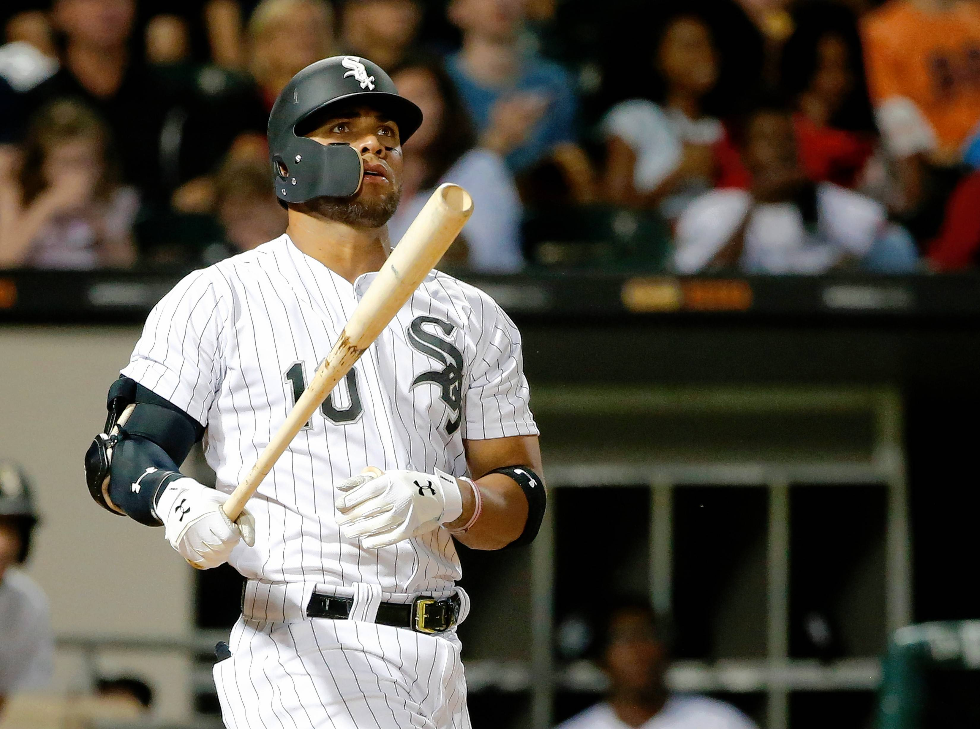 Chicago White Sox's Yoan Moncada watches his deep fly ball hook foul during the fourth inning of a baseball game against the Houston Astros Wednesday, Aug. 9, 2017, in Chicago. (AP Photo/Charles Rex Arbogast)