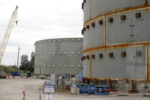 FILE - In this Sept. 21, 2016, file photo, parts of a containment building for the V.C. Summer Nuclear Station is shown near Jenkinsville, S.C., during a media tour of the facility. Proponents of nuclear power are pushing to revive a failed project to build two reactors in South Carolina, arguing that the demise of the $14 billion venture could signal doom for an industry that supplies one-fifth of the nation's electricity. The July 31 suspension of the partly-completed V.C. Summer project near Columbia, S.C., leaves two nuclear reactors under construction in Georgia as the only ones being built in the U.S.