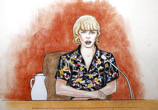 FILE - In this Thursday, Aug. 10, 2017, file courtroom sketch, pop singer Taylor Swift speaks from the witness stand during a trial, in Denver. A jury on Monday, Aug. 14, was expected to weigh Swift's allegation that a former radio host groped her during a meet-and-greet before a concert and whether the singer's mother and her radio liaison later set out to destroy his career. (Jeff Kandyba via AP, File)