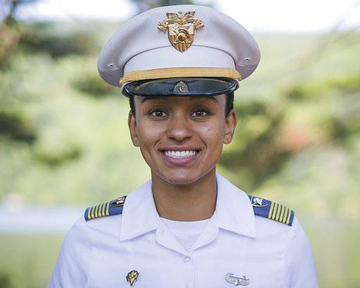 In this Aug. 3, 2017, image provided by the U.S. Army, West Point Cadet Simone Askew poses for a photo. Askew is making history as the first black woman to lead the Long Grey Line at the U.S. Military Academy. She will be responsible for the overall performance of the roughly 4,400 cadets at West Point. (Austin Lachance/U.S. Army via AP)