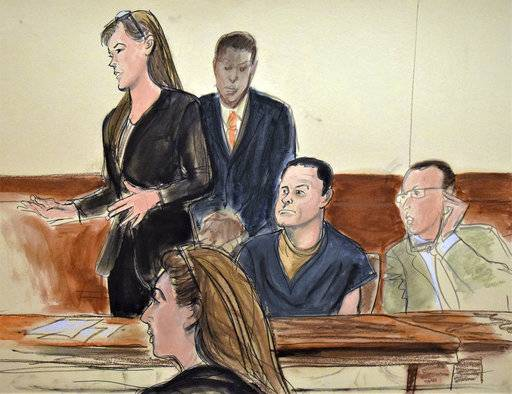 "In this courtroom sketch, Joaquin ""El Chapo"" Guzman, second from right, and Assistant US Attorney Andrea Goldbarg, seated in foreground, listen to Michelle Gelernt, left, a public defender, during a hearing in federal court in the Brooklyn borough of New York, Monday, Aug. 14, 2017. Private lawyers seeking to represent Guzman in his U.S. drug-trafficking case failed to get assurances that they'll get paid, leaving the Mexican drug lord's defense in limbo after the judge said there was no guarantee that prosecutors wouldn't later seize defense lawyers payments if it was shown the money came from Guzman's estimated $14 billion in drug profits. (Elizabeth Williams via AP)"