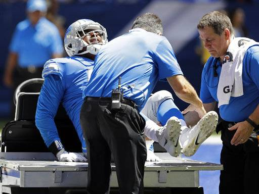 Detroit Lions defensive end Kerry Hyder is taken off the field after being injured during the first half of an NFL preseason football game against the Indianapolis Colts, Sunday, Aug. 13, 2017, in Indianapolis. (AP Photo/Darron Cummings)