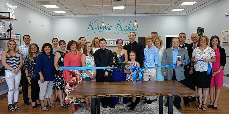 The Barrington Area Chamber of Commerce gathered with the village of South Barrington for a ribbon cutting to celebrate the grand opening of Kimmie-Kakes Handcrafted Gift Boutique, 100 W. Higgins, Suite F-30, at The Arboretum of South Barrington.
