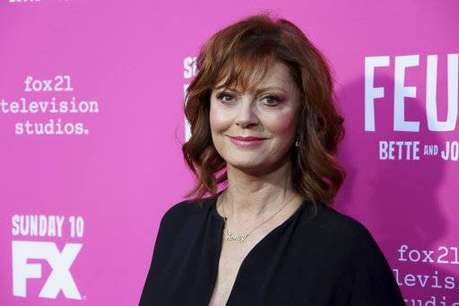 "FILE - In a Friday, April 21, 2017 file photo, Susan Sarandon arrives at the ""Feud: Bette and Joan"" FYC screening at The Ebell of Los Angeles. Organizers of the Woodstock Film Festival say Sarandon will receive the Maverick Award on Oct. 14 at the the annual film festival in New York's Hudson Valley. (Photo by Willy Sanjuan/Invision/AP, File)"
