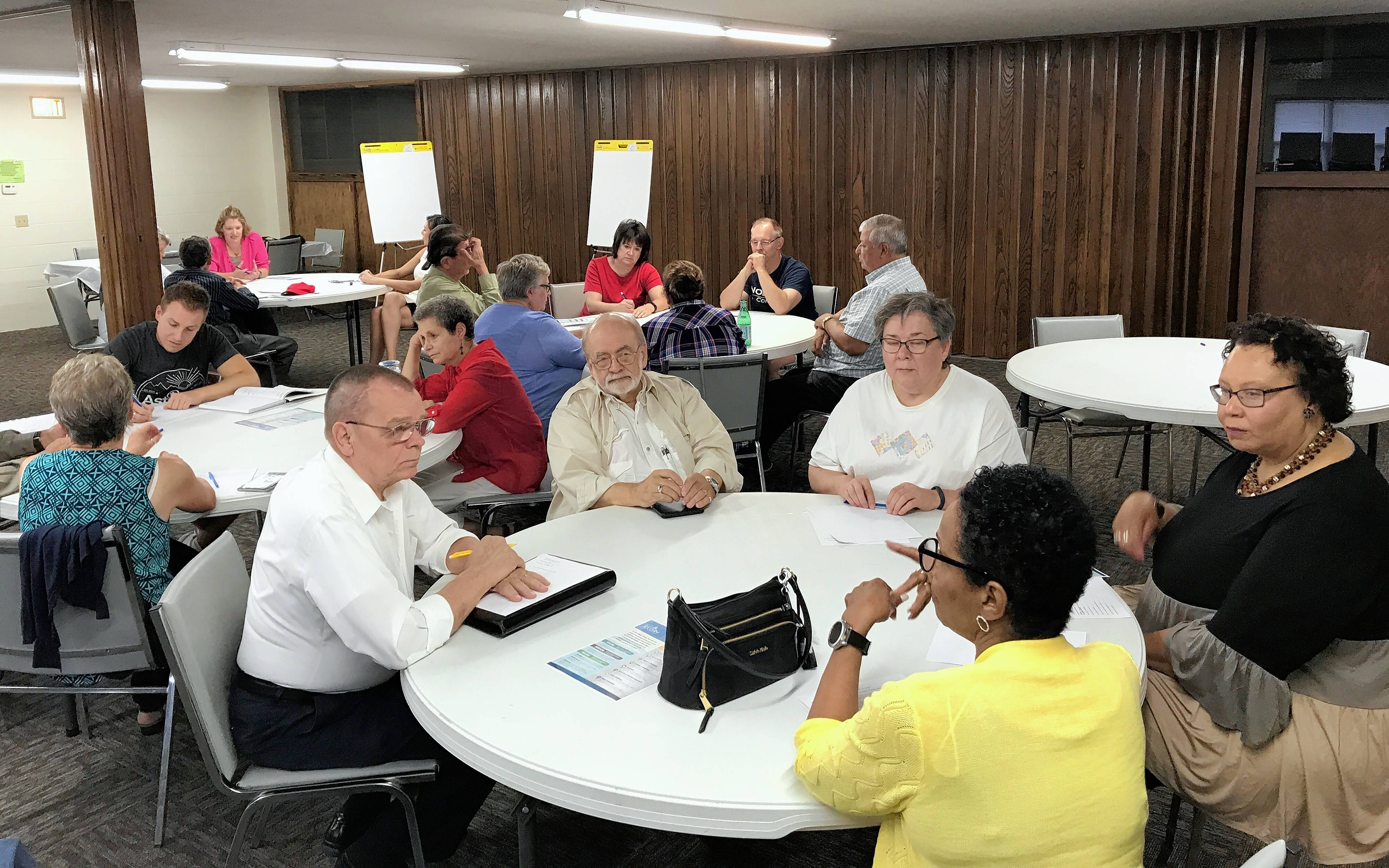 About 15 residents attended a community input meeting Monday night at First Christian Church of Elgin. More meetings take place Saturday and Aug. 21.