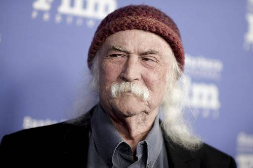 FILE - In this Feb. 2, 2017, file photo, David Crosby attends the Maltin Modern Master Award ceremony at the 32nd Santa Barbara International Film Festival in Santa Barbara, Calif. Crosby tweeted on Aug. 14, 2017, that fellow rocker Ted Nugent has been kept out of the Rock and Roll Hall of Fame because he's not good enough. (Photo by Richard Shotwell/Invision/AP, File)