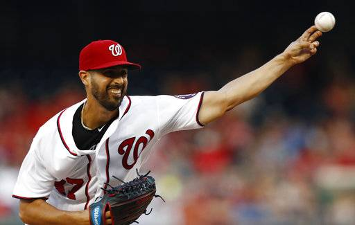 Washington Nationals starting pitcher Gio Gonzalez (47) throws during the first inning of a baseball game against the Los Angeles Angels, Tuesday, Aug. 15, 2017, in Washington. (AP Photo/Carolyn Kaster)
