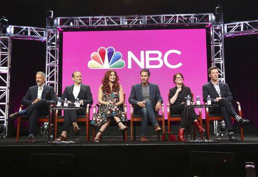 "FILE - In this Aug. 3, 2017 file photo, Co-creator/executive producers David Kohan, from left, and Max Mutchnick and actors Debra Messing, Eric McCormack, Megan Mullally and Sean Hayes participate in the ""Will & Grace"" panel during the NBC Television Critics Association Summer Press Tour at the Beverly Hilton in Beverly Hills, Calif. The parent company of New York's Tribeca Film Festival is giving TV its own show. Tribeca Enterprises said Wednesday, aug. 16 it will launch the stand-alone Tribeca TV Festival this fall. Scheduled highlights include a conversation with ""Will & Grace� stars Debra Messing, Eric McCormack, Sean Hayes and Megan Mullally ahead of this fall's NBC reboot.(Photo by Willy Sanjuan/Invision/AP)"