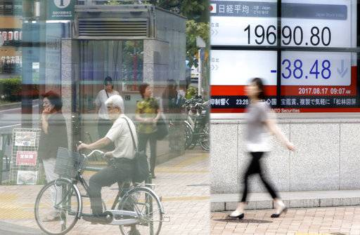 A woman walks past an electronic stock board showing Japan's Nikkei 225 index at a securities firm in Tokyo Thursday, Aug. 17, 2017. Asian shares were mostly higher Thursday, tracking gains overnight on Wall Street. The Nikkei index slipped as the yen strengthened against the U.S. dollar. (AP Photo/Eugene Hoshiko)