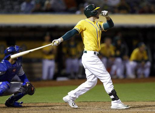 Oakland Athletics' Matt Joyce swings for a three run double off Kansas City Royals' Mike Minor in the eighth inning of a baseball game Tuesday, Aug. 15, 2017, in Oakland, Calif. Athletics won, 10-8. (AP Photo/Ben Margot)