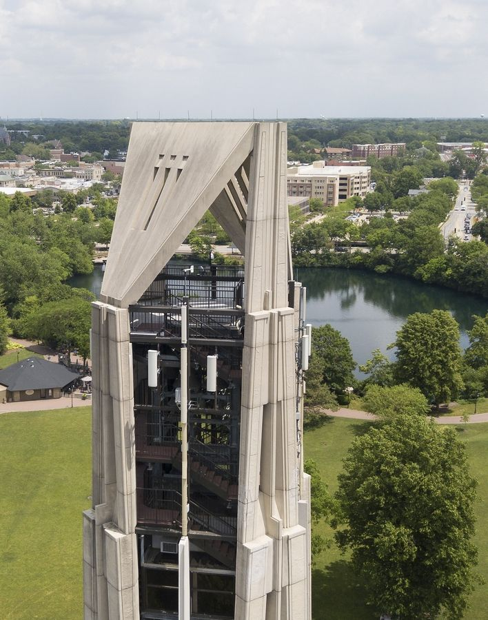 The Naperville Riverwalk Commission took several engineers on a tour of Moser Tower, shown in this Daily Herald drone photo, so the experts could assess its structural damage and make suggestions for how to restore it.