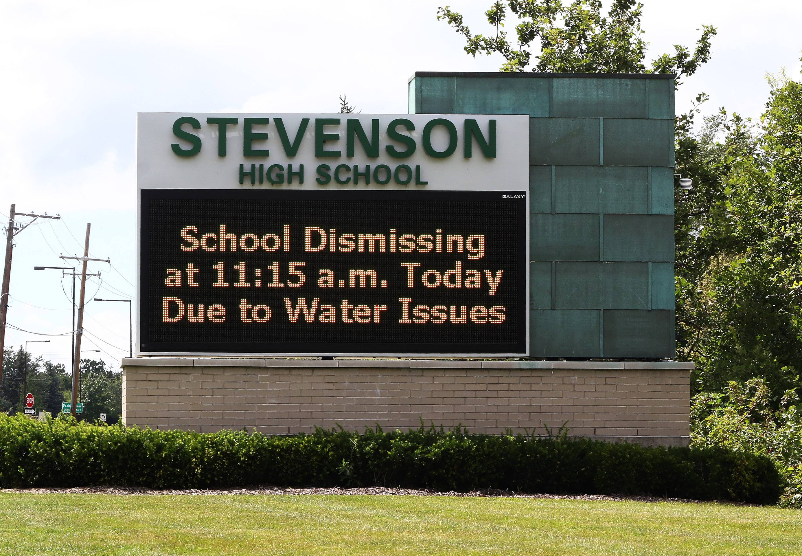 Stevenson High School sent students home early Thursday after a water main break near the Des Plaines River in Lincolnshire cut off water pressure. Classes will resume as scheduled Friday, officials say.