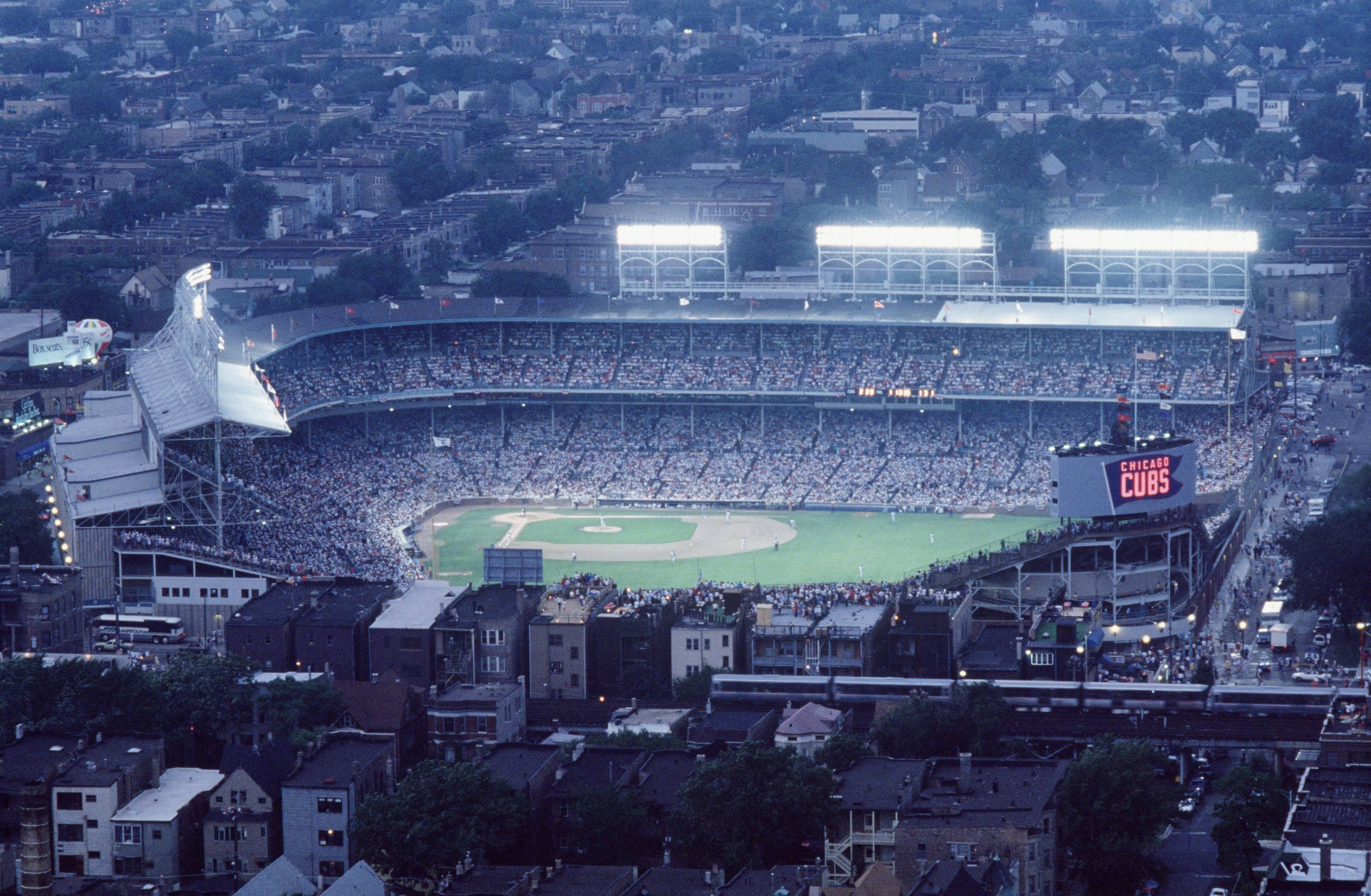 Wrigley Field is aglow for the first night game at Wrigley Field on Aug. 8, 1988. It might surprise fans how well the team has played in Wrigley Field night games.