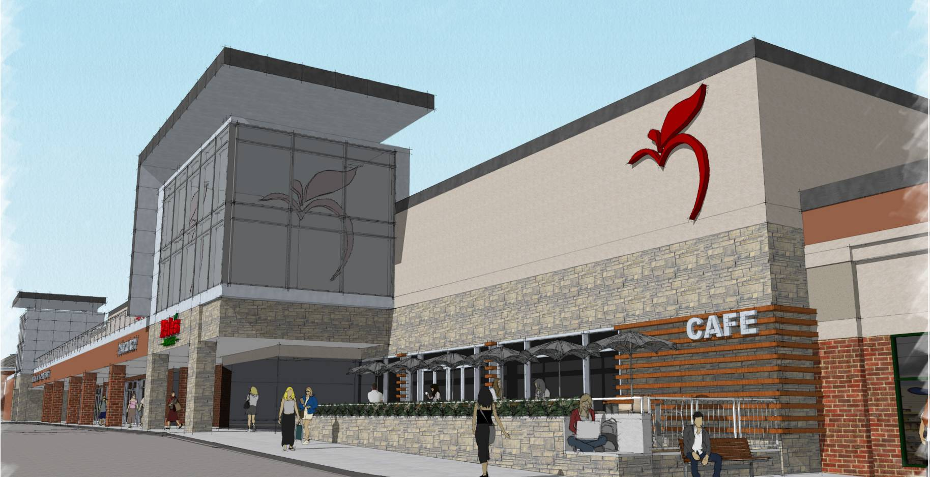 The owner of the Baker Hill shopping center could pay for a new facade, shown in this preliminary rendering, as part of a project to draw Pete's Fresh Market to the anchor spot.