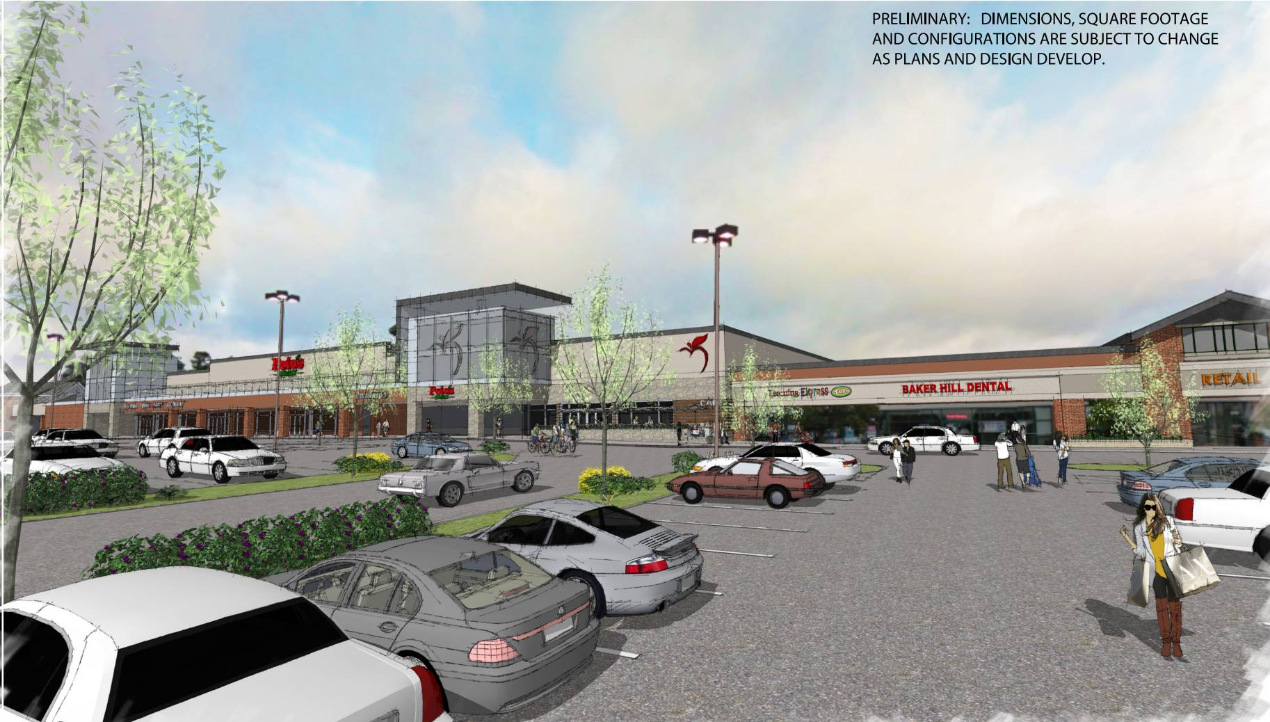The property owner also is planning a major redesign of the rest of the Baker Hill shopping center along Roosevelt Road.