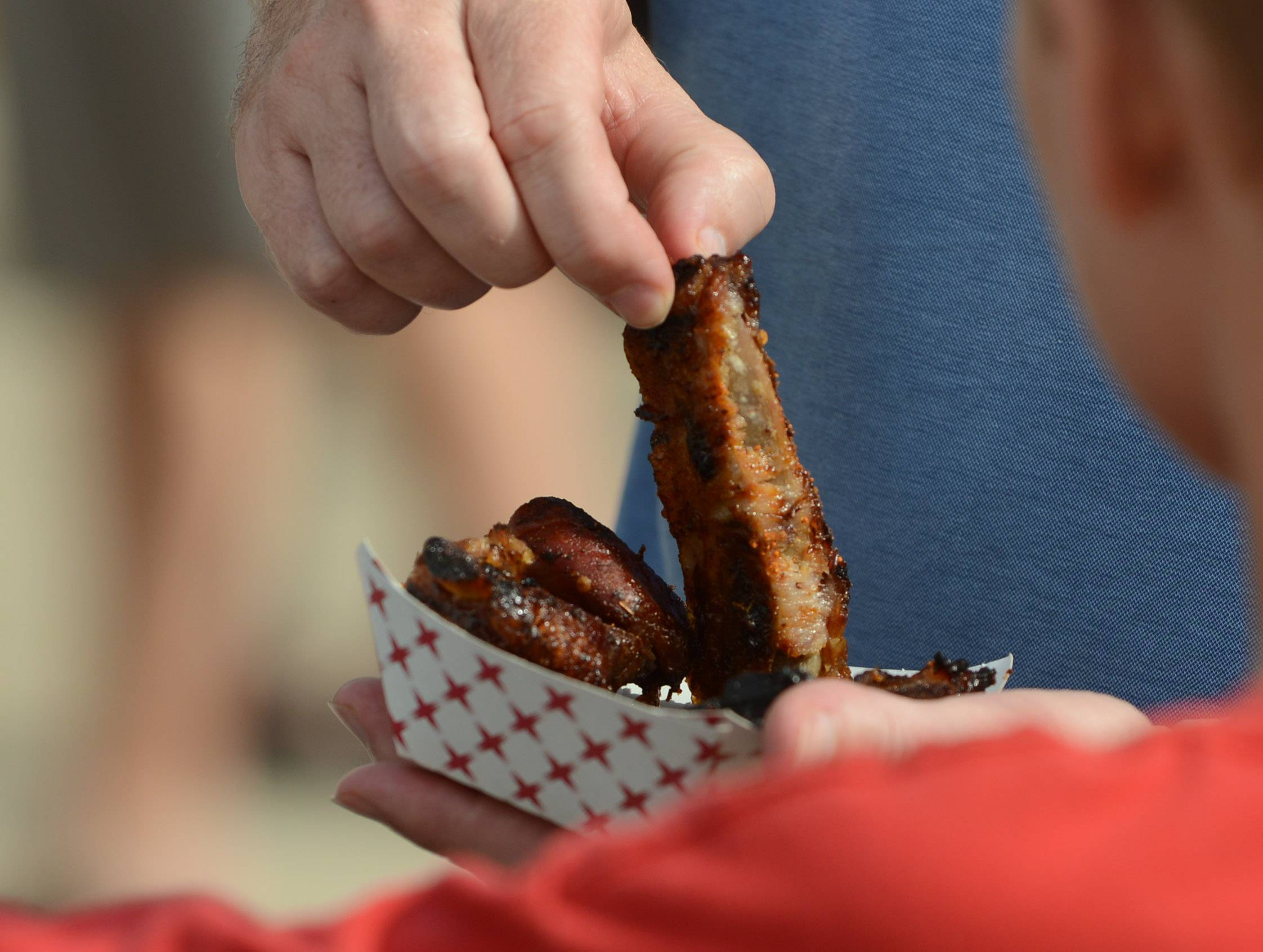 Ribs ready for eating at the Vernon Hills Park District Little Bear Ribfest in Century Park.