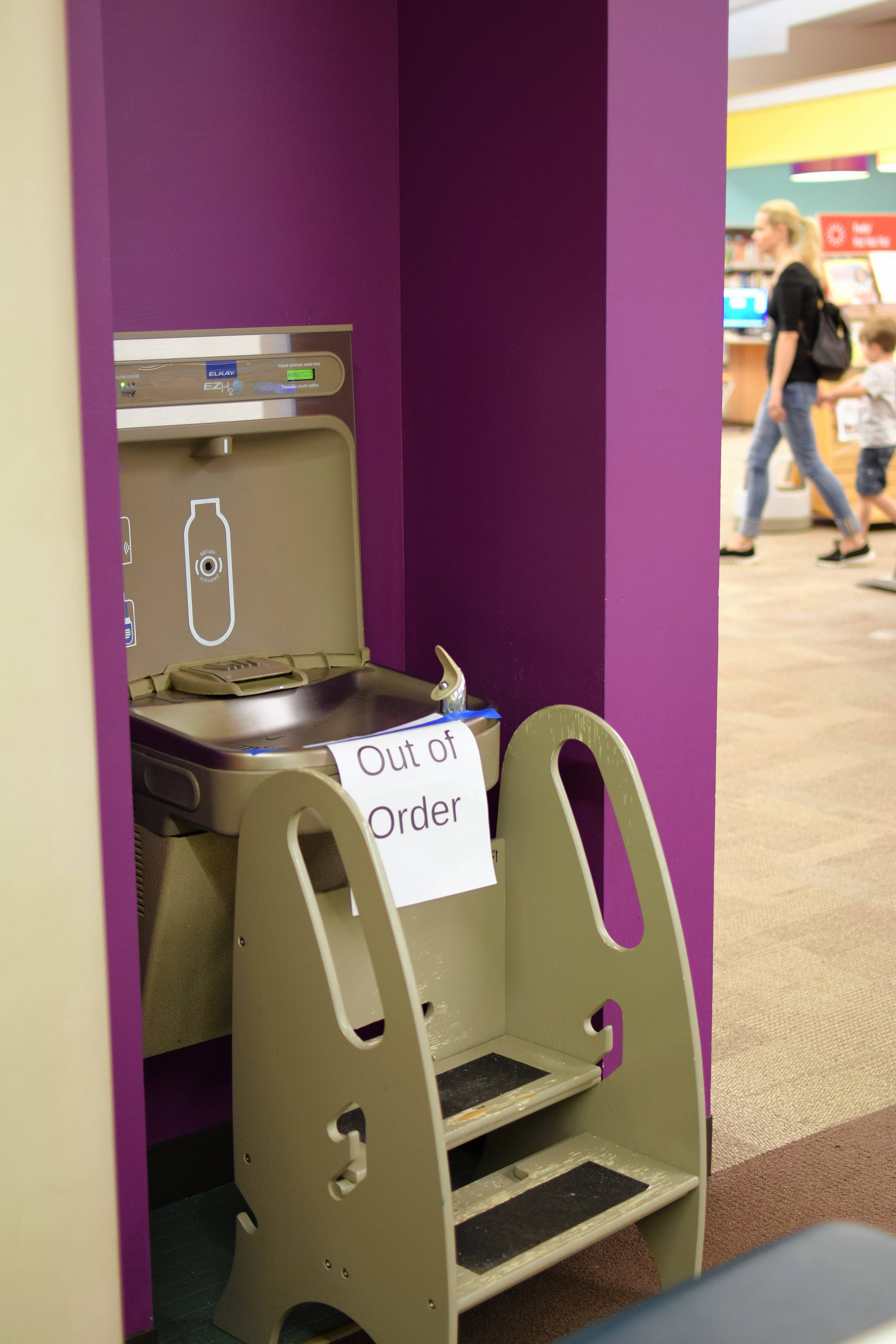 Drinking fountains at the Vernon Area Public Library in Lincolnshire were shut off and marked out of order Friday because of a villagewide boil-water order.