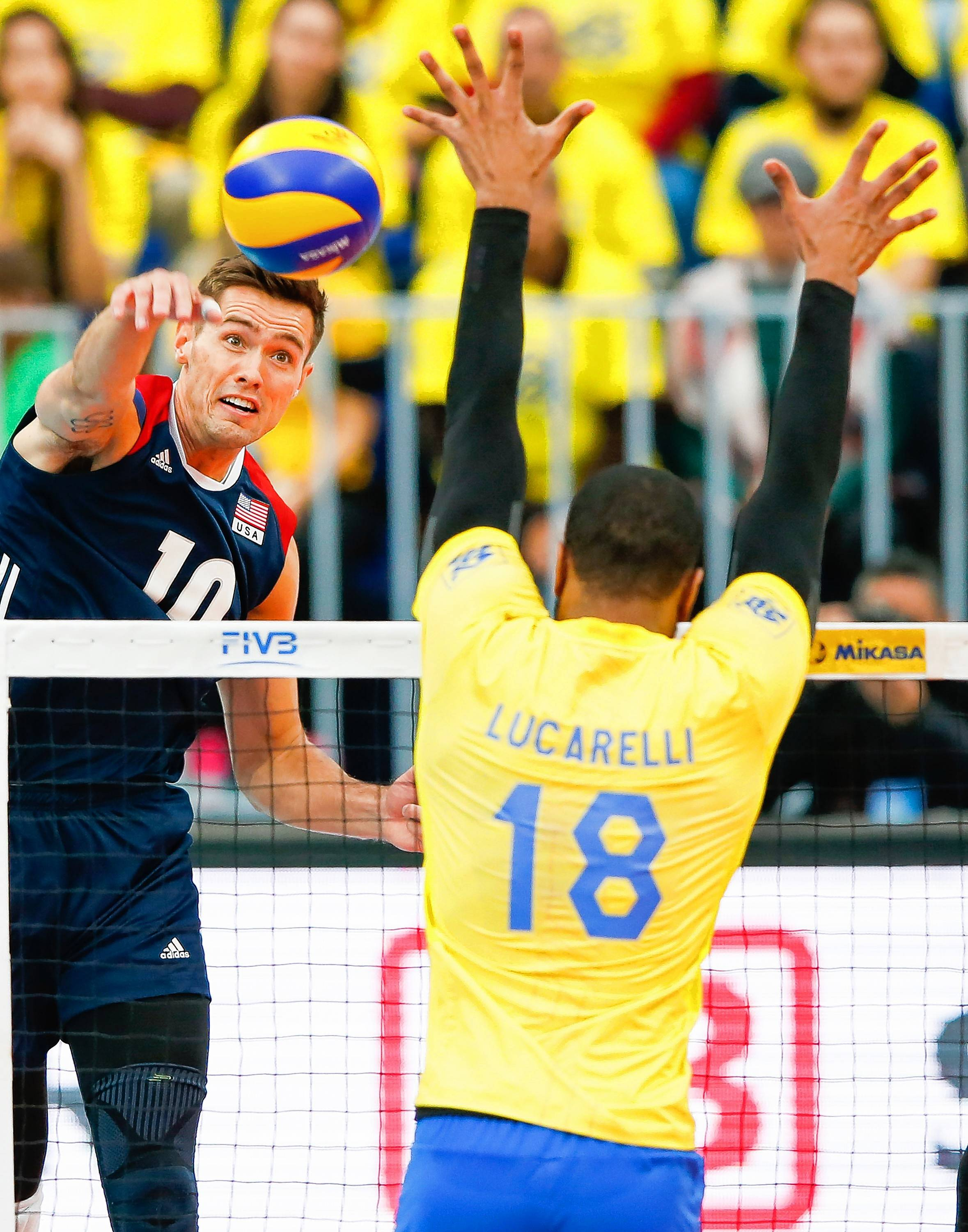Thomas Jaeschke, shown here on the attack in a match against Brazil in July, will help lead USA Volleyball against Brazil in a series of USAV Cup matches at Sears Centre Arena this weekend.
