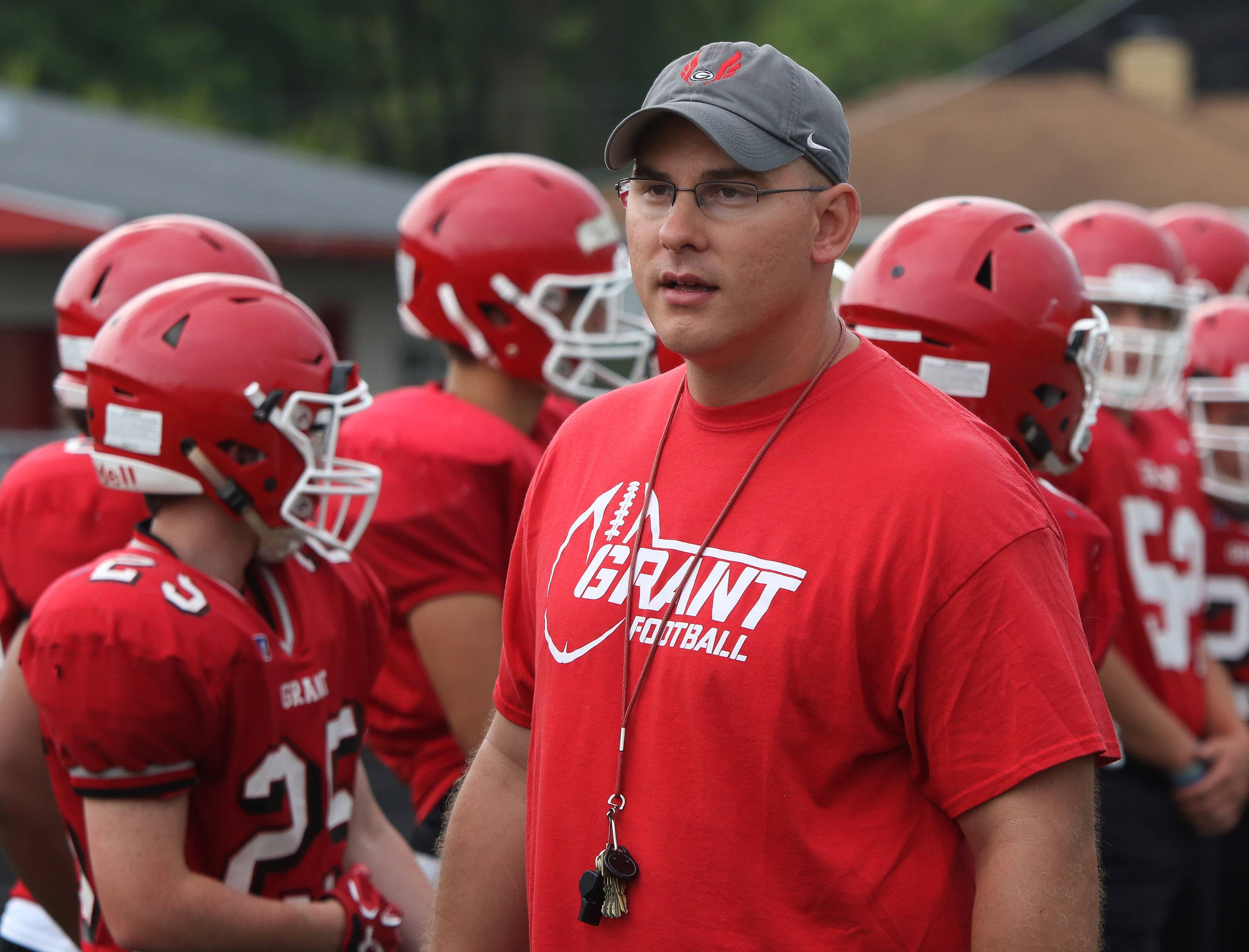 Head coach Chris Robinson during football practice at Grant High School.