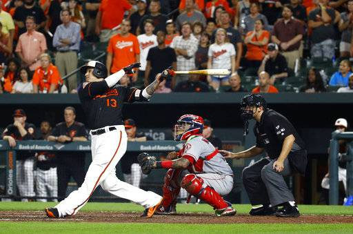 Baltimore Orioles' Manny Machado watches his grand slam in front of Los Angeles Angels catcher Martin Maldonado and home plate umpire Mark Ripperger during the ninth inning of a baseball game in Baltimore, Friday, Aug. 18, 2017. Baltimore won 9-7. (AP Photo/Patrick Semansky)