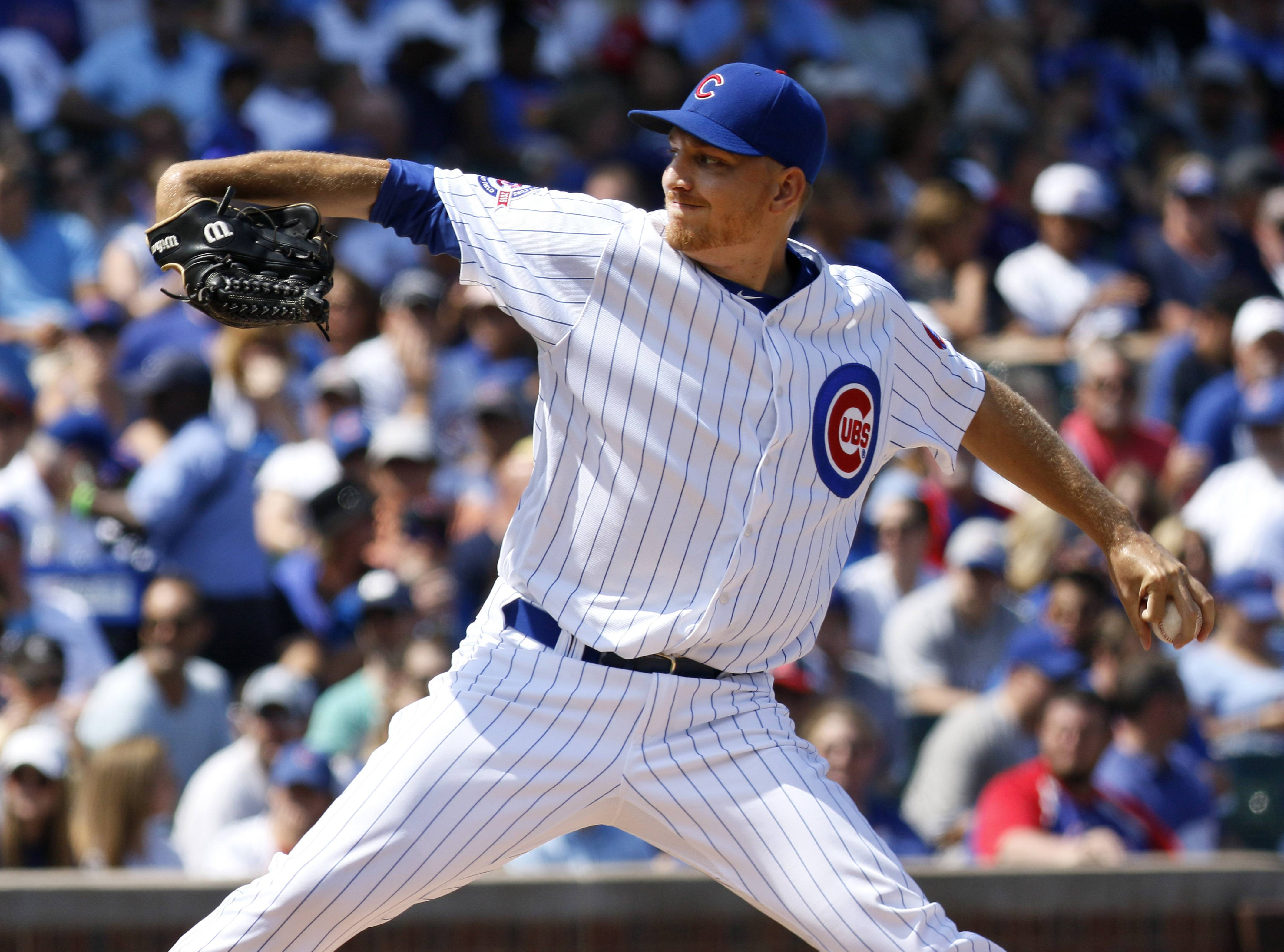 Chicago Cubs relief pitcher Mike Montgomery throws a pitch against the Milwaukee Brewers during the first game of a split doubleheader Tuesday, Aug 16, 2016, in Chicago.