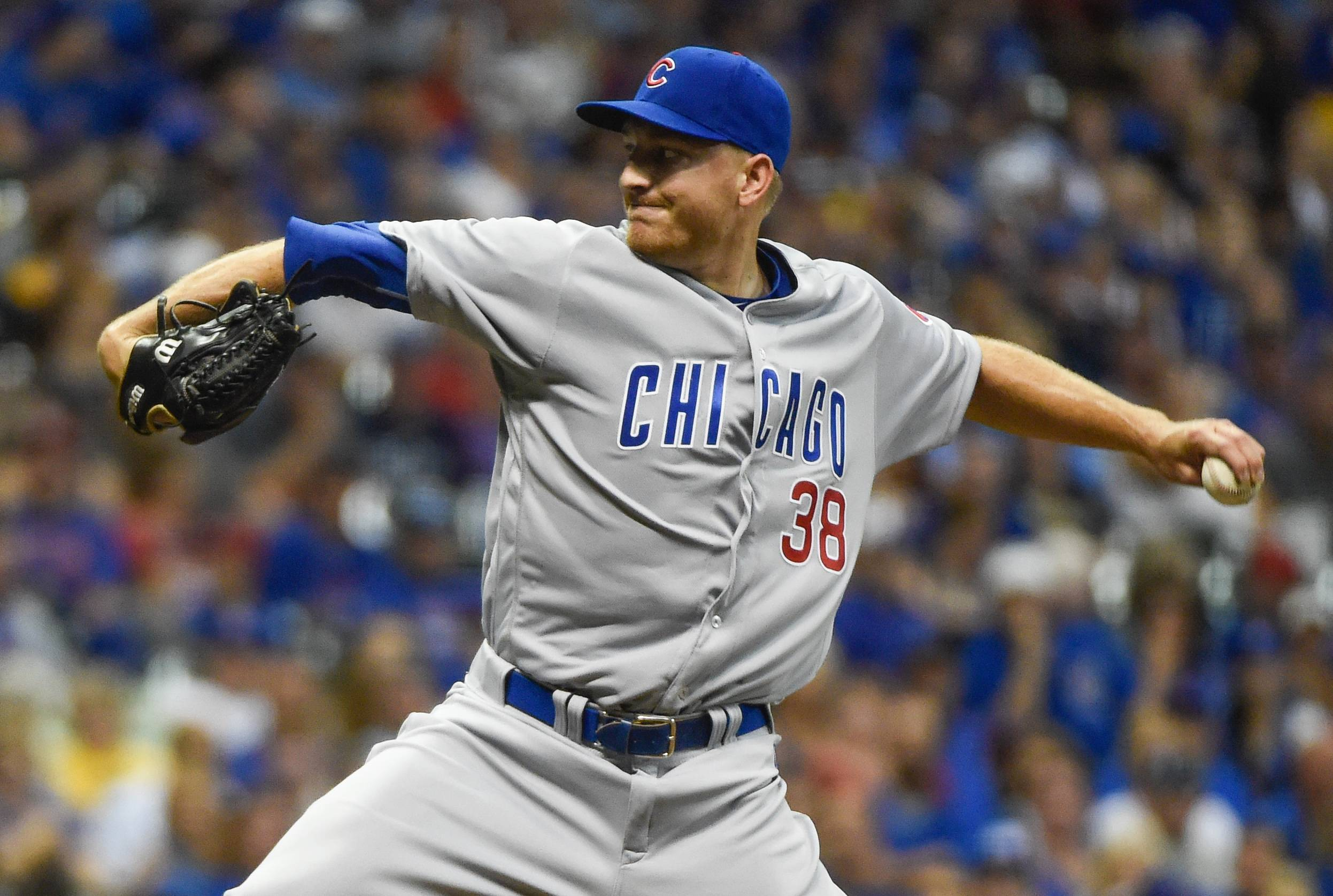 Chicago Cubs pitcher Mike Montgomery throws during the eighth inning of a baseball game against the Milwaukee Brewers, Saturday, July 23, 2016, in Milwaukee.