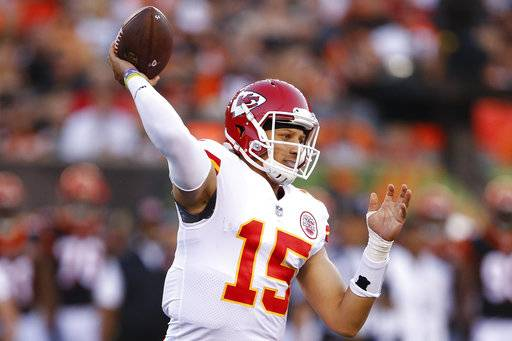 Kansas City Chiefs quarterback Patrick Mahomes throws a pass during the first half of an NFL preseason football game against the Cincinnati Bengals, Saturday, Aug. 19, 2017, in Cincinnati.