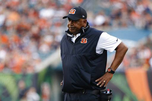 Cincinnati Bengals coach Marvin Lewis reacts after strong safety Shawn Williams sustained an apparent injury during the first half of an NFL preseason football game against the Kansas City Chiefs, Saturday, Aug. 19, 2017, in Cincinnati.