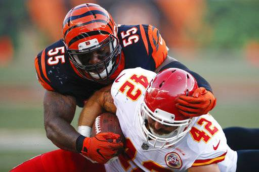 Cincinnati Bengals outside linebacker Vontaze Burfict (55) tackles Kansas City Chiefs fullback Anthony Sherman (42) during the first half of an NFL preseason football game, Saturday, Aug. 19, 2017, in Cincinnati.